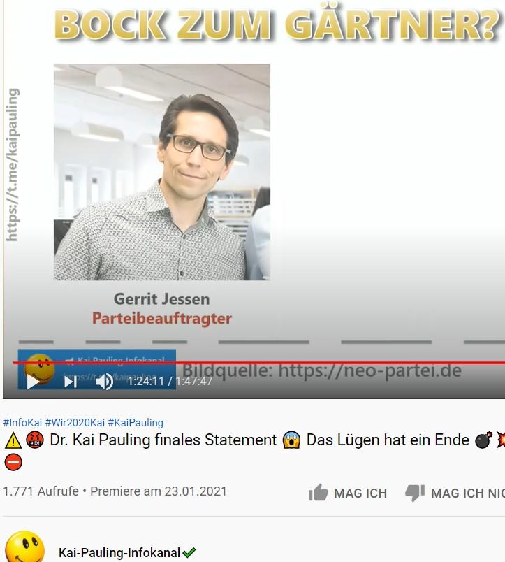 Screenshot YouTube Videi Kai Pauling über Gerrit Jessen Wir2020 Partei